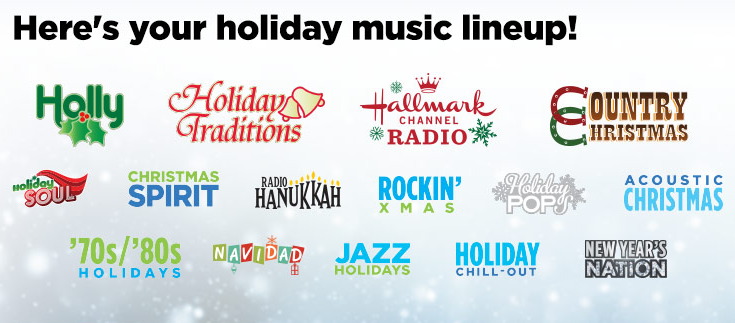 holiday music channels