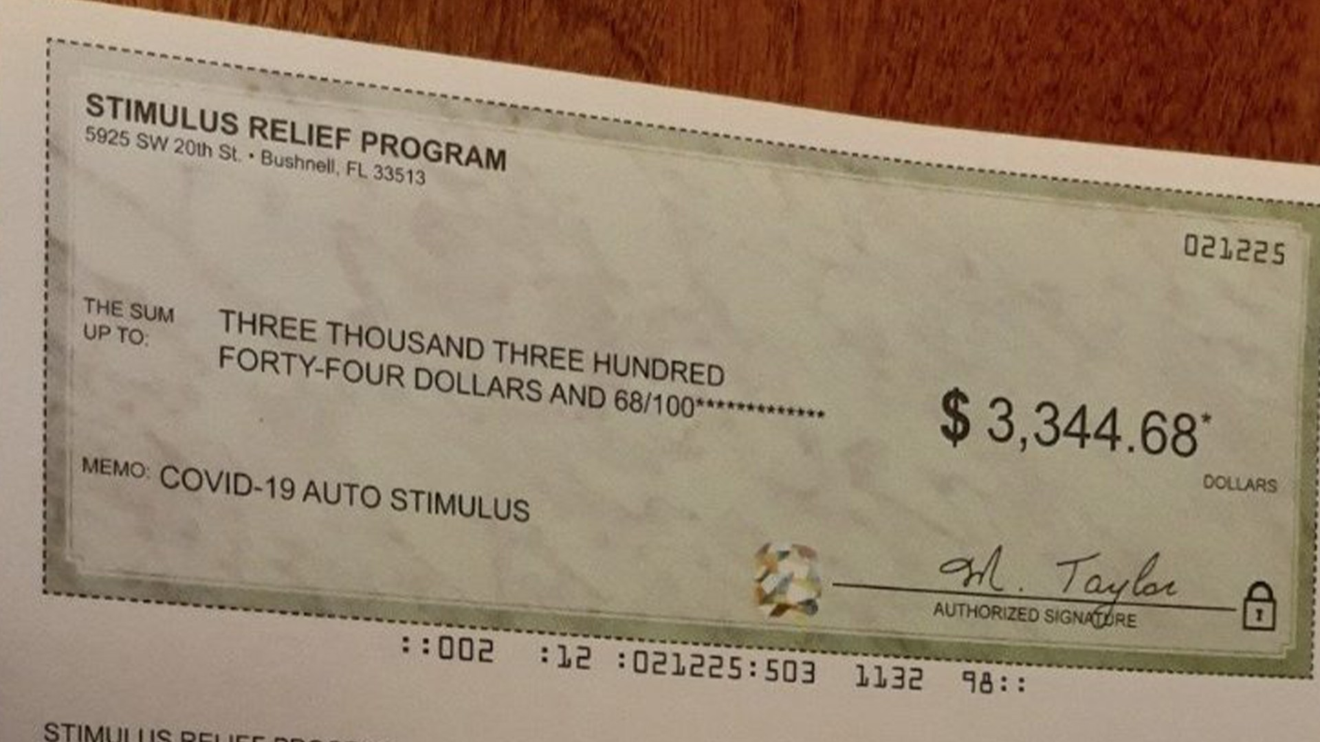 Florida Man Warns Others After Fake Covid 19 Relief Check Arrives In Mail