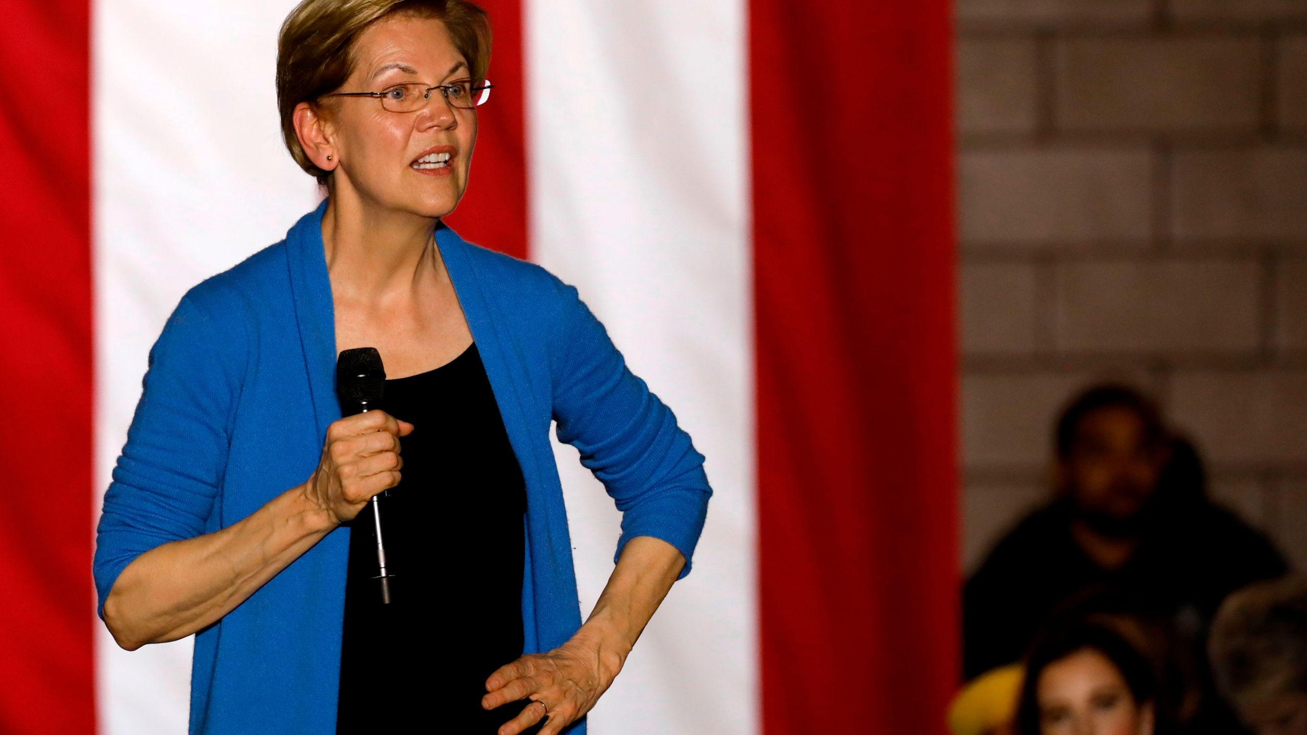 Democratic presidential hopeful Massachusetts Senator Elizabeth Warren