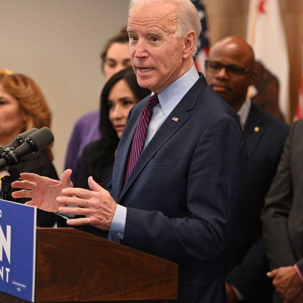 Democratic presidential hopeful Joe Biden delivers remarks