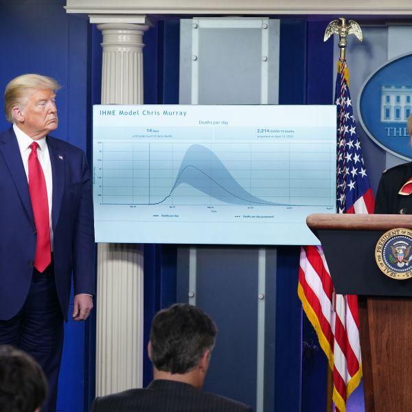 US President Donald Trump listens to Response coordinator