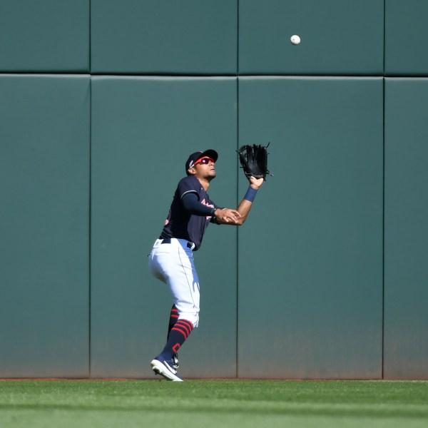 Oscar Mercado #35 of the Cleveland Indians catches a fly ball