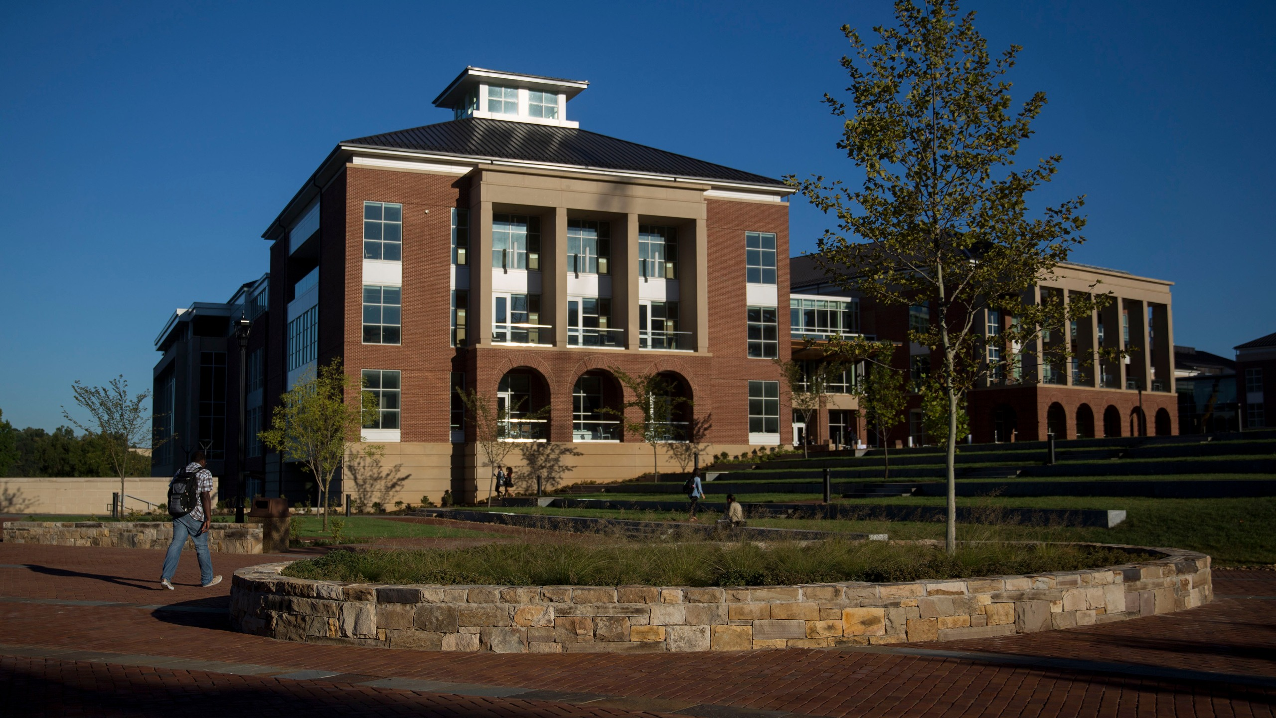 Jerry Falwell Library stands on the campus of Liberty University