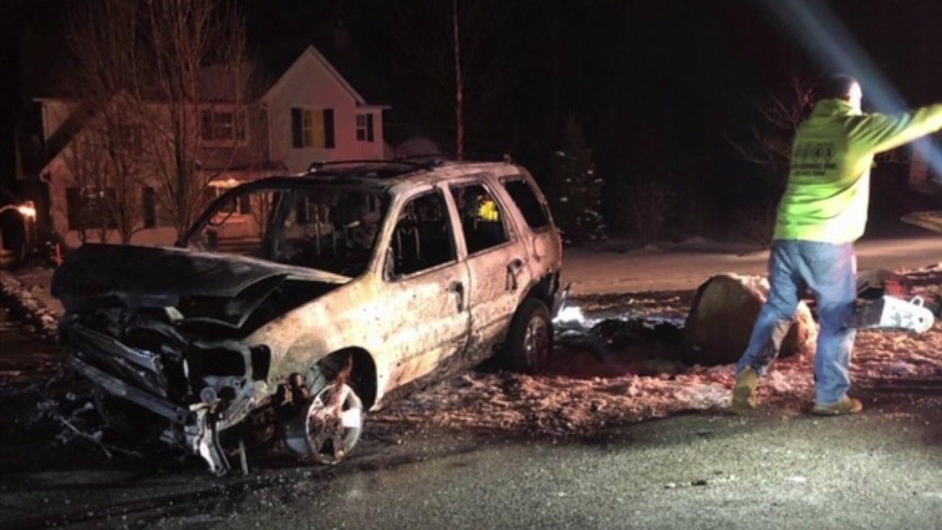 Charred car after crash