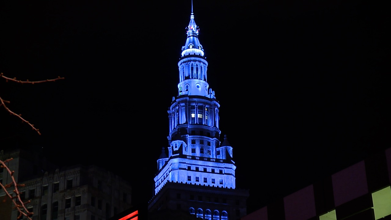 Terminal tower blue