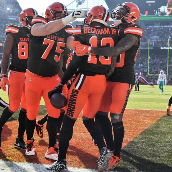 Odell Beckham Jr. #13 of the Cleveland Browns celebrates