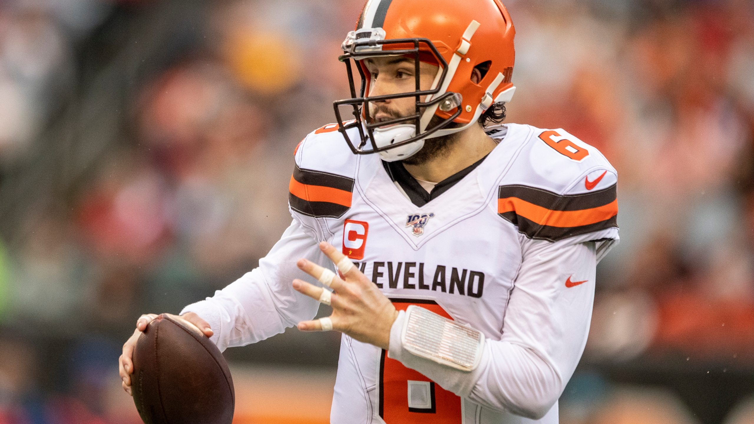 Baker Mayfield #6 of the Cleveland Browns runs with the ball