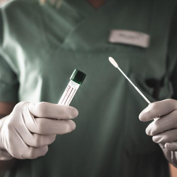 nurse holds a swab for the coronavirus / covid19 test