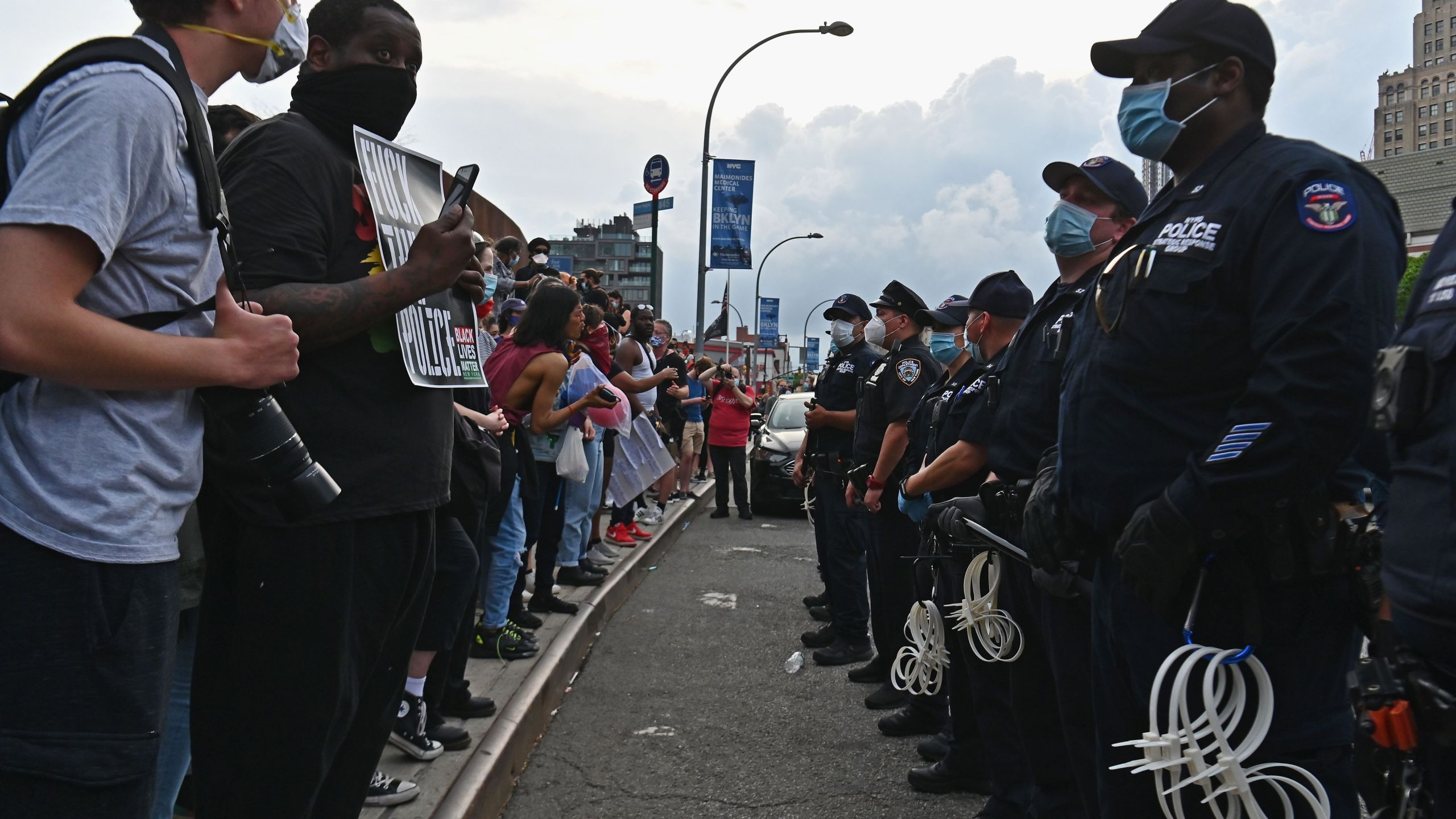 "Protesters gather during a ""Black Lives Matter"" protest"