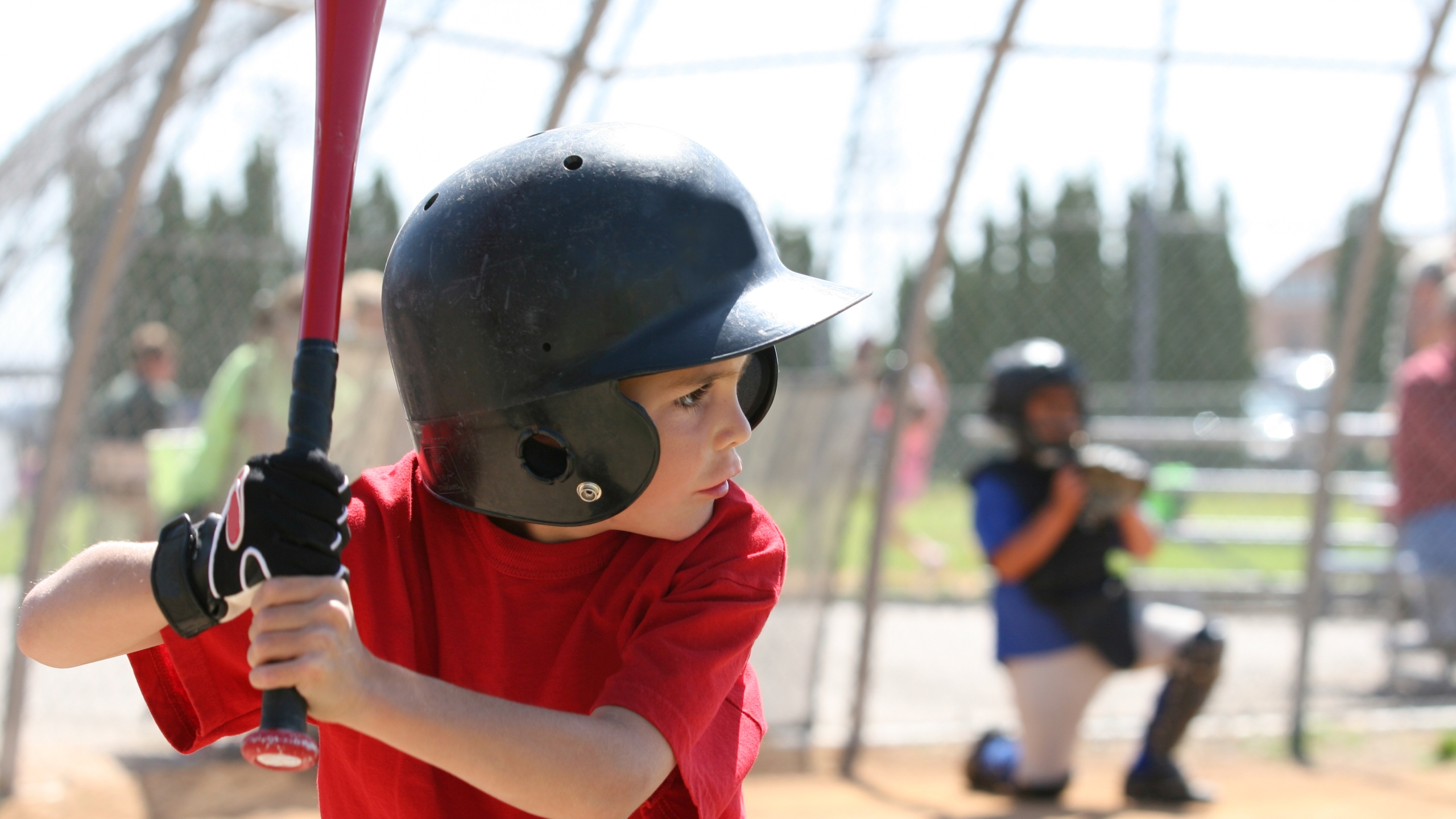 A boy up to bat.
