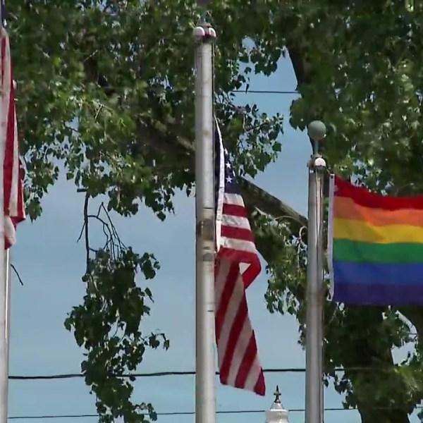LGBTQ flag at Lorain City Hall