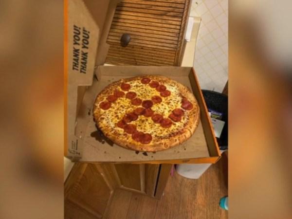 Little Caesars swastika pizza