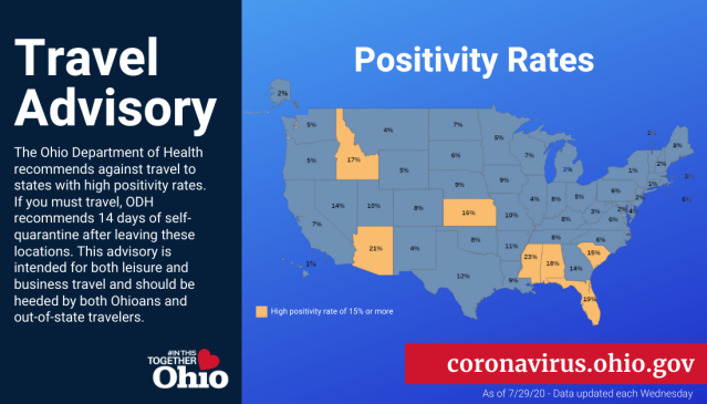 Ohio Releases Newly Updated Travel Advisory Map For States With Higher Coronavirus Rates