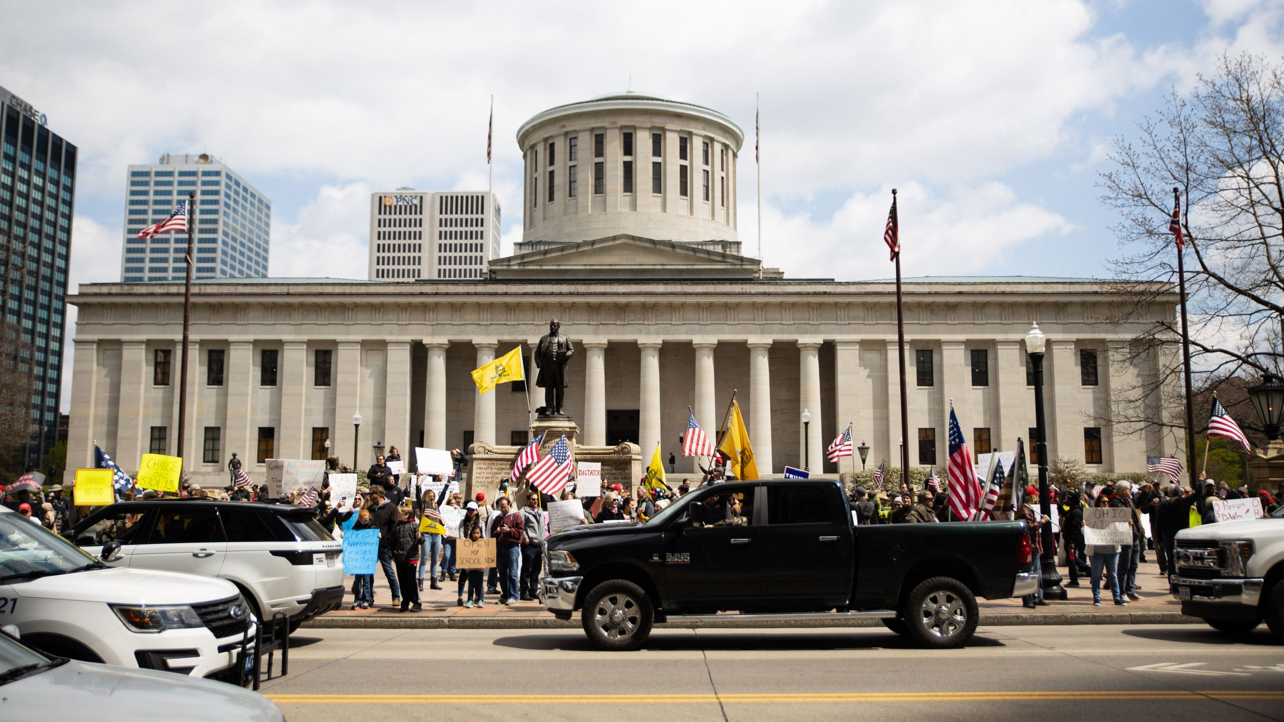 Protesters rally at the Ohio State House in Columbus, Ohio