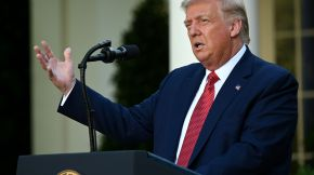 US President Donald Trump delivers a press conference