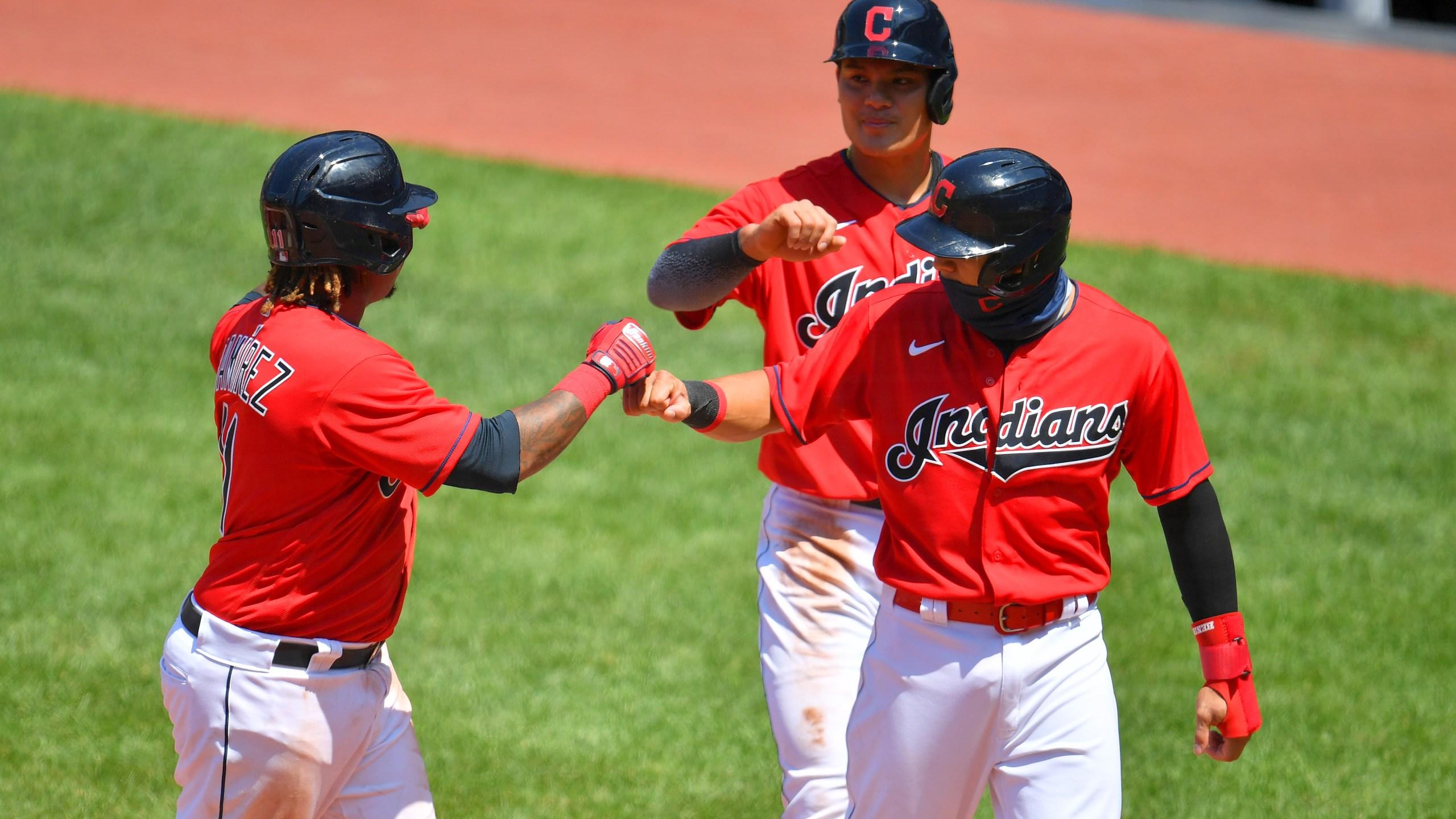 Jose Ramirez #11 of the Cleveland Indians celebrates