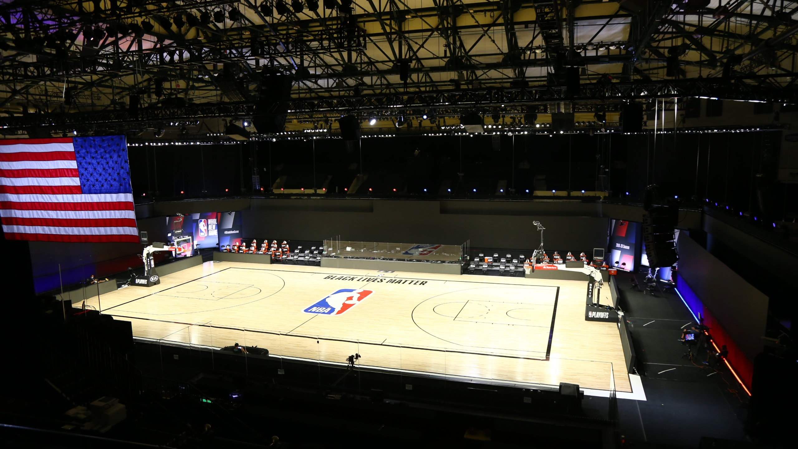 A general view of the court after the postponed game five of the first round of the NBA Playoffs between the Oklahoma City Thunder and the Houston Rockets