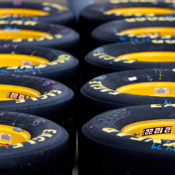 A detail of the Goodyear Racing Eagle tires
