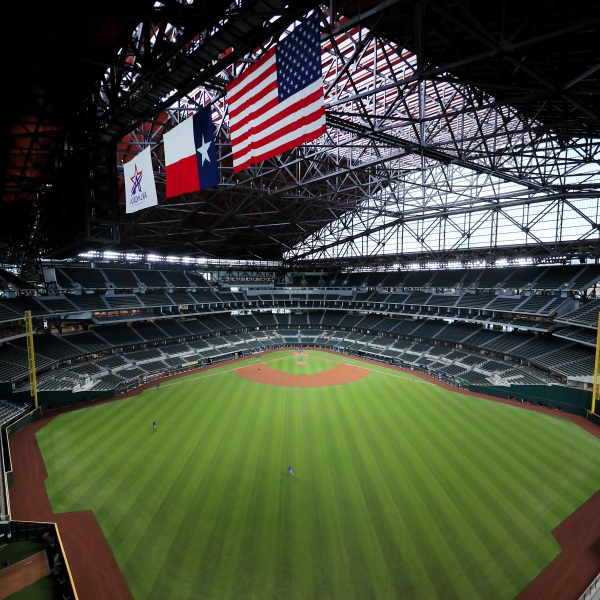 A view as the Texas Rangers conduct Major League Baseball Summer Workouts at Globe Life Field on July 03, 2020 in Arlington, Texas.