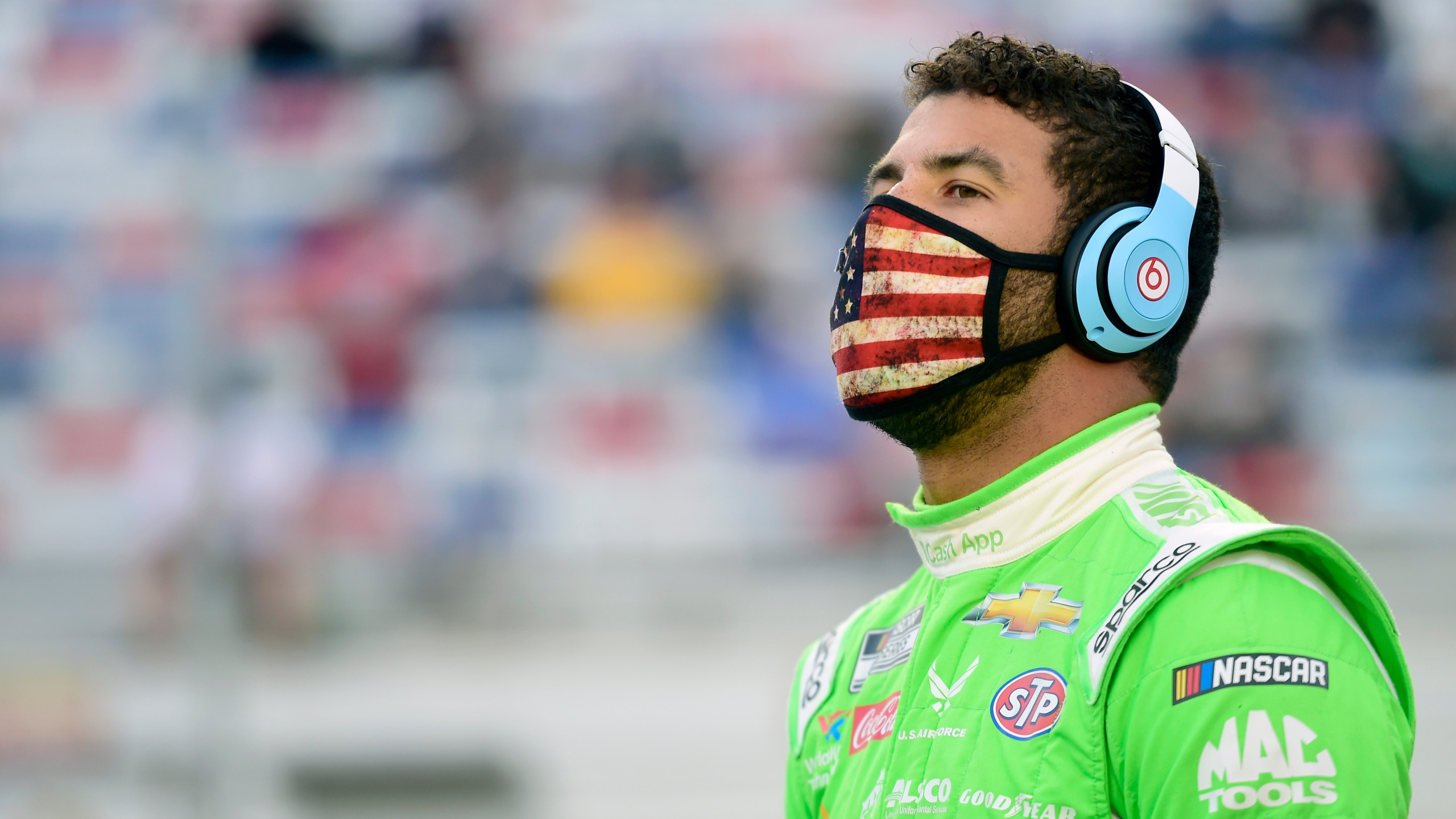 Bubba Wallace, driver of the #43 Cash App Chevrolet