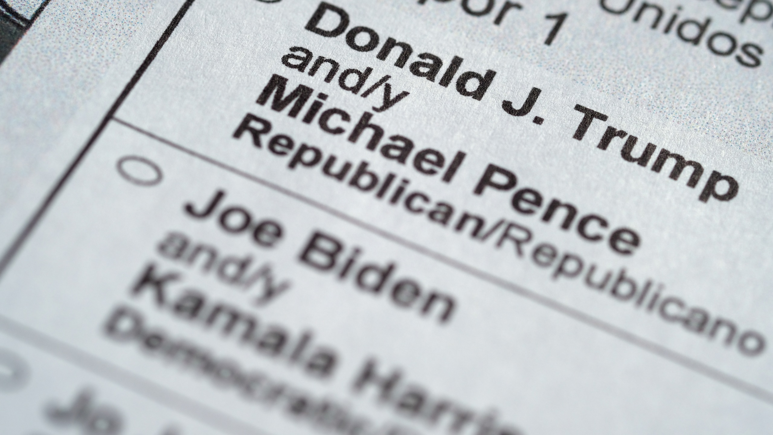 President Donald Trump and Democratic candidate Joe Biden appear on a ballot.