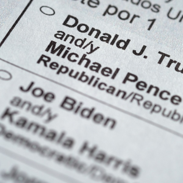 President Donald Trump and Democratic candidate Joe Biden appear on a ballot.