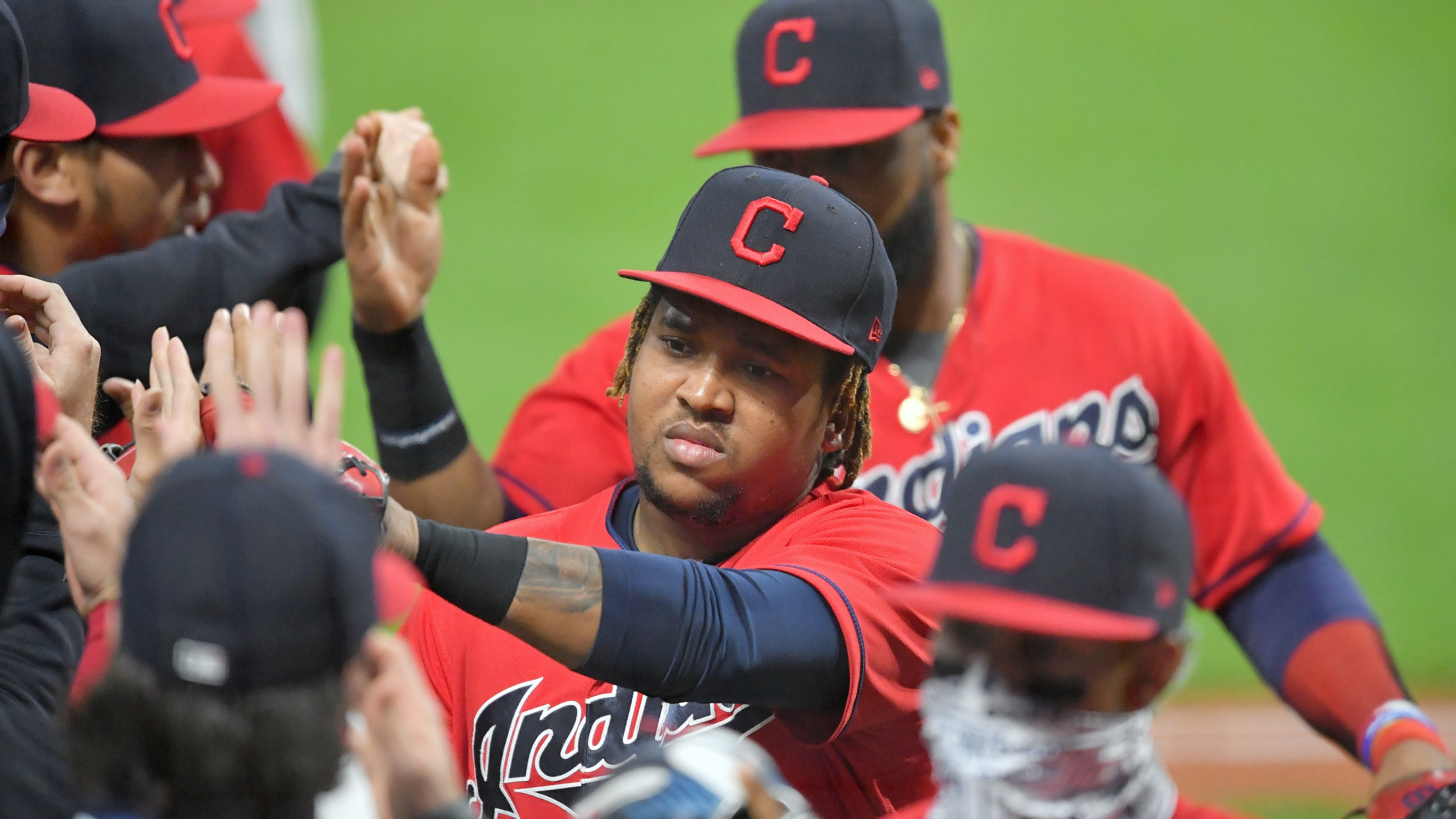 Jose Ramirez #11 of the Cleveland Indians celebrates