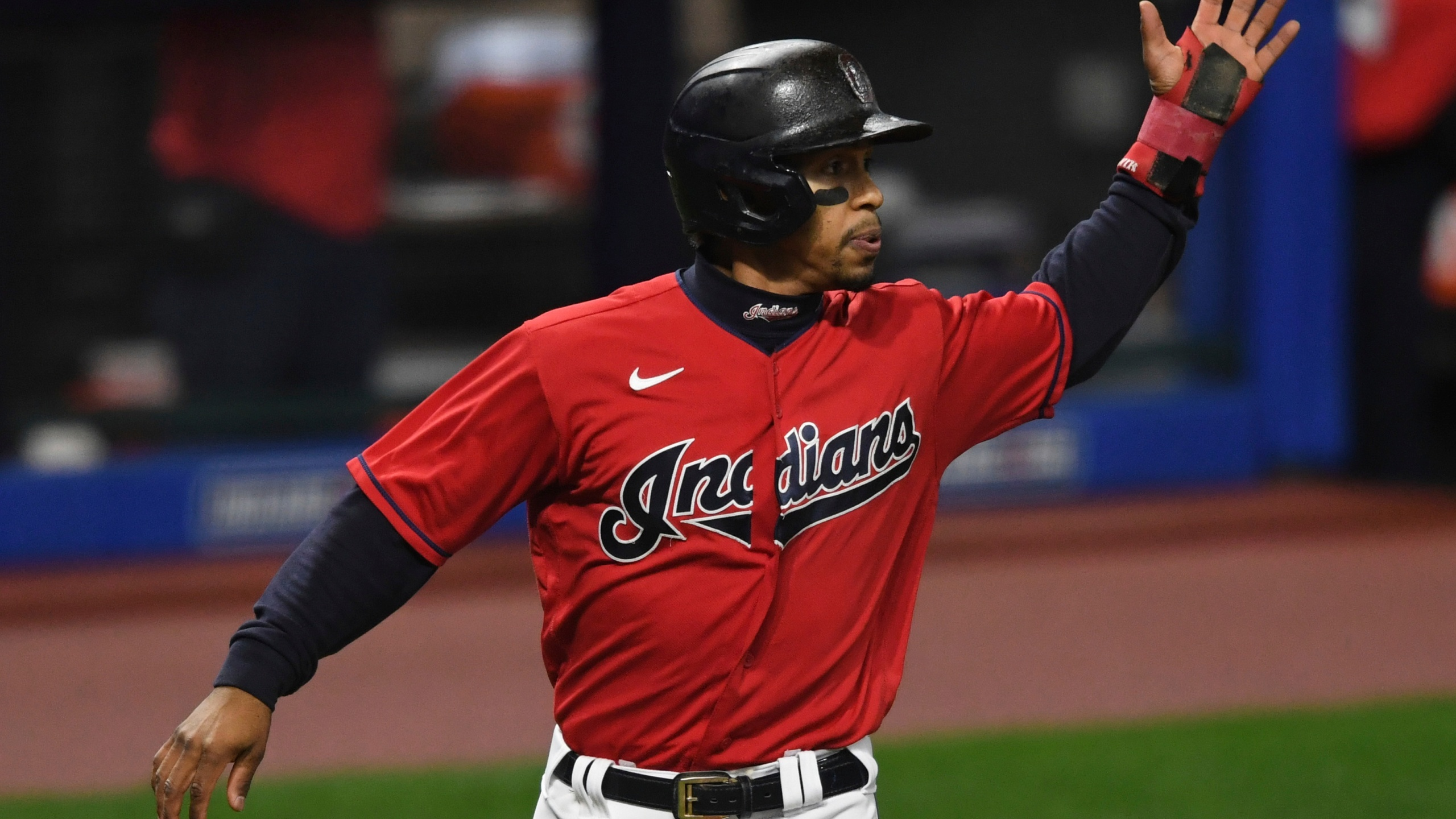 Cleveland Indians' Francisco Lindor scores a run on a two RBI double by Jose Ramirez