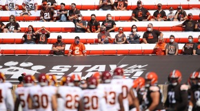 Fans at FirstEnergy Stadium watch a game