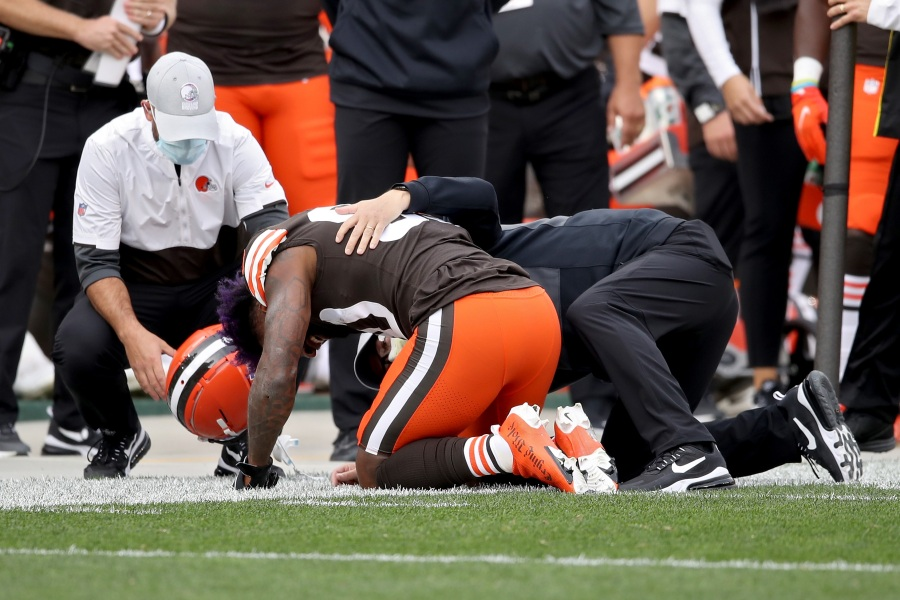 Jarvis Landry #80 of the Cleveland Browns is examined