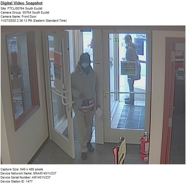 FBI asking for public's help identifying man accused of robbing bank in South Euclid