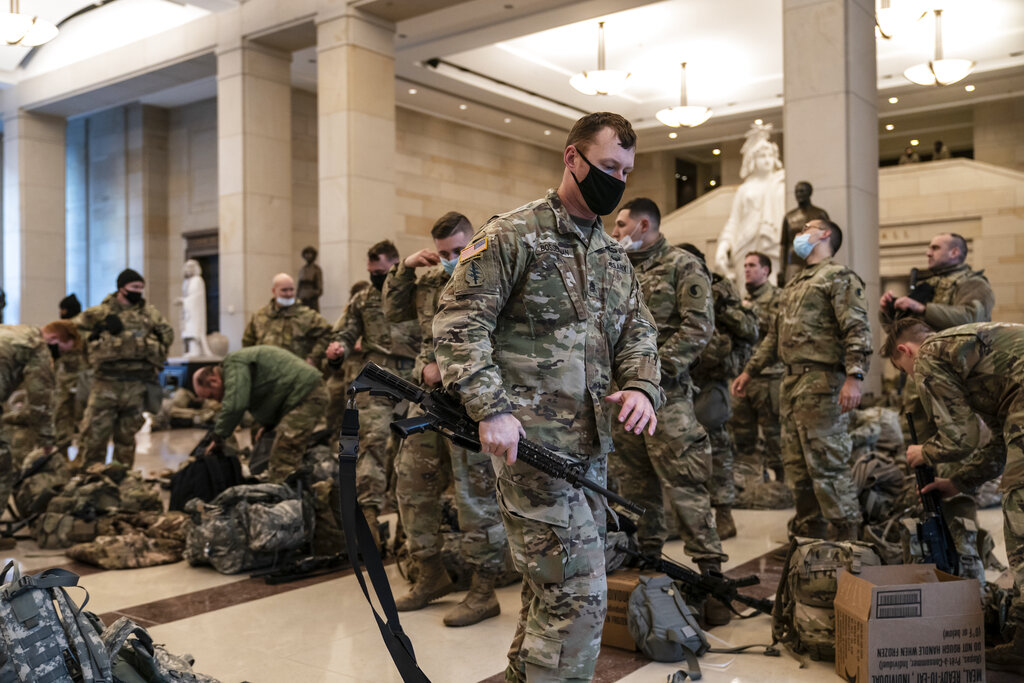 Photos show hundreds of National Guard troops at U.S. Capitol