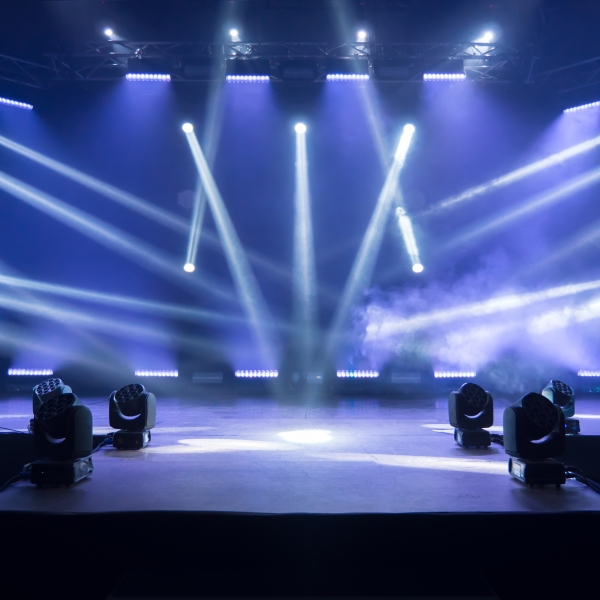 Online concert. Event entertainment concept. Background for online concert. Blue stage spotlights. Empty stage with blue spotlights. Blue stage lights. Online COVID-19 concert. Live streaming concert