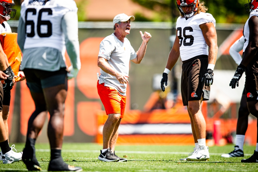 Offensive Line Coach Bill Callahan during the fifth day of training camp on August 2, 2021.