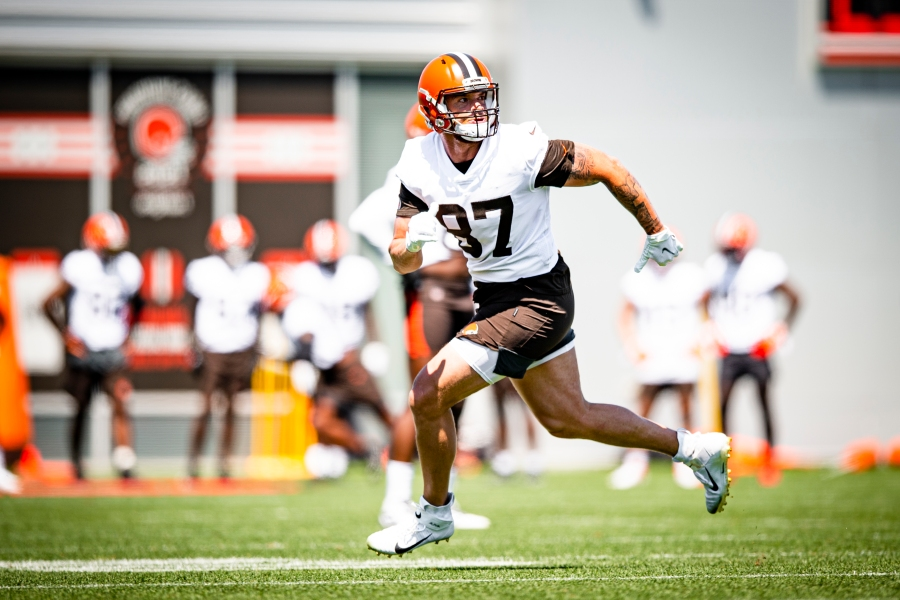Tight end Jordan Franks (87) during the fifth day of training camp on August 2, 2021.
