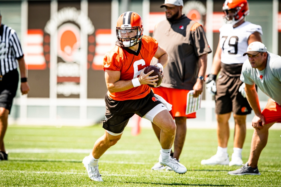 Quarterback Baker Mayfield (6) during the fifth day of training camp on August 2, 2021.