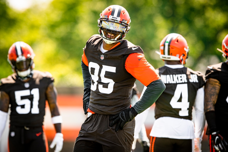 Defensive end Myles Garrett (95) during the fifth day of training camp on August 2, 2021.