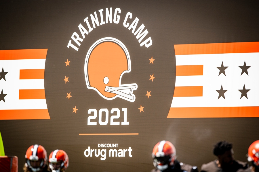 Training camp signage during the fifth day of training camp on August 2, 2021.