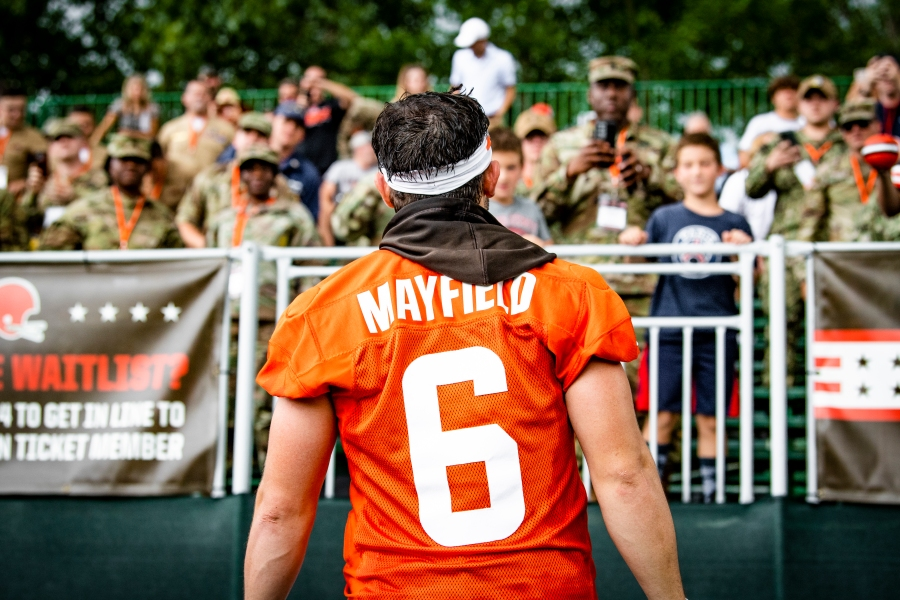 Quarterback Baker Mayfield (6) thanks members of the military after the fourteenth day of training camp on August 17, 2021.