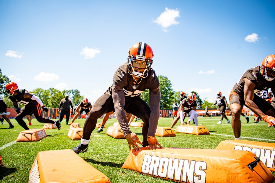 Safety Grant Delpit (22) during the fifth day of training camp on August 2, 2021.