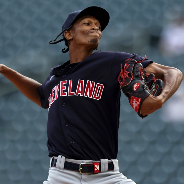 Cleveland Indians' pitcher Triston McKenzie (24) throws against the Minnesota Twins during the first inning of the first baseball game of a doubleheader Tuesday, Sept. 14, 2021, in Minneapolis. (AP Photo/Stacy Bengs)