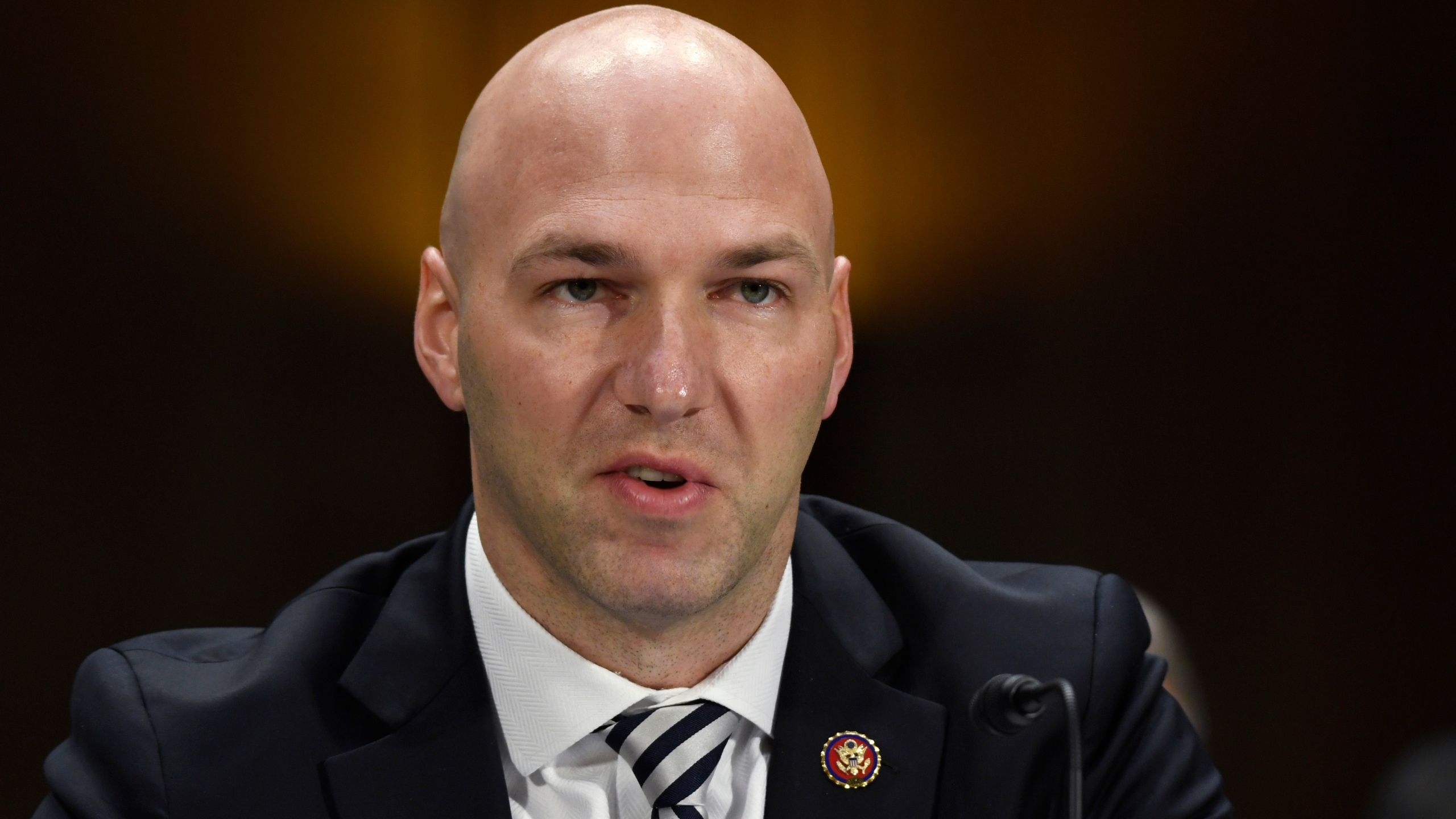 FILE - In this Feb. 11, 2020, file photo, Rep. Anthony Gonzalez, R-Ohio, speaks during a Senate Commerce subcommittee hearing on Capitol Hill in Washington, on intercollegiate athlete compensation. Gonzalez, the first of 10 House Republicans who voted to impeach former President Donald Trump for his role in inciting the Jan. 6 insurrection at the Capitol, announced Thursday, Sept. 16, 2021, he will not seek re-election next year. (AP Photo/Susan Walsh, File)