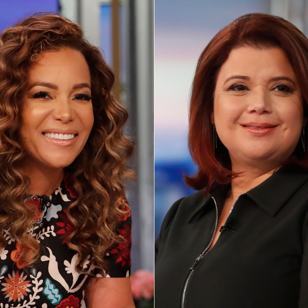"""This combination of photos shows co-hosts Sunny Hostin, left, and Ana Navarro on the set of """"The View,"""" in New York on Sept. 17, 2021. Hostin and Navarro, who were abruptly pulled off the air on Friday, Sept. 24, before a planned interview with Vice President Kamala Harris said their tests were false positives. Their false positives led to some awkward television and their boss, executive producer Brian Teta, apologized to them on the air Monday. (ABC/Lou Rocco via AP)"""