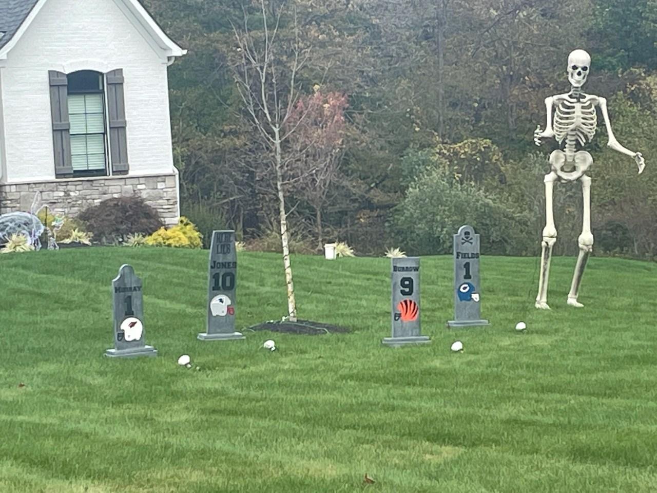 Myles Garrett decorates for Halloween with quarterback graveyard