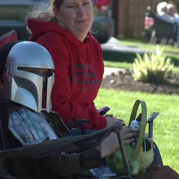 Strongsville drive by trick or treat parade