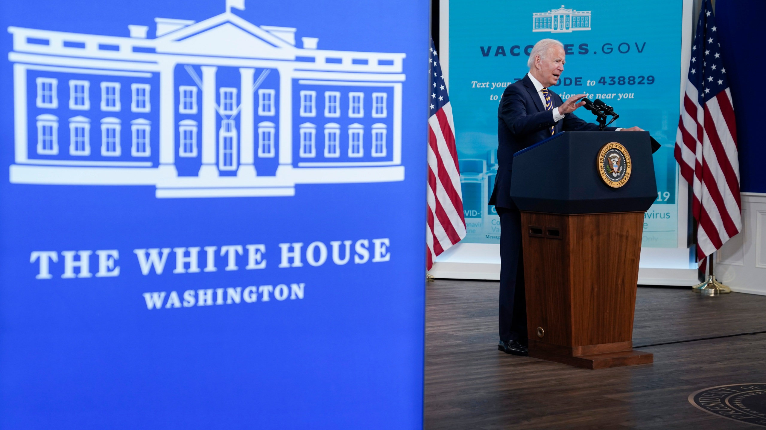 President Joe Biden delivers an update on the COVID-19 response and vaccination program, in the South Court Auditorium on the White House campus, Thursday, Oct. 14, 2021, in Washington. (AP Photo/Evan Vucci)