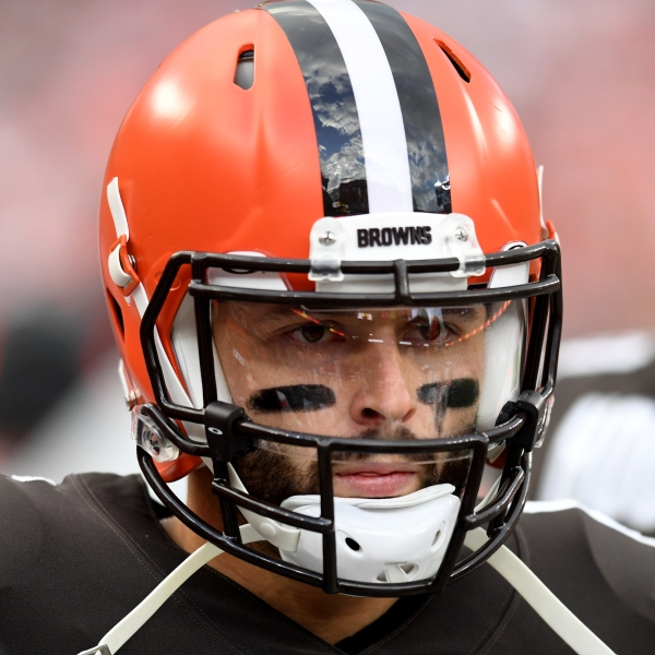 CLEVELAND, OHIO - OCTOBER 17: Baker Mayfield #6 of the Cleveland Browns looks on during the third quarter against the Arizona Cardinals at FirstEnergy Stadium on October 17, 2021 in Cleveland, Ohio. (Photo by Nick Cammett/Getty Images)
